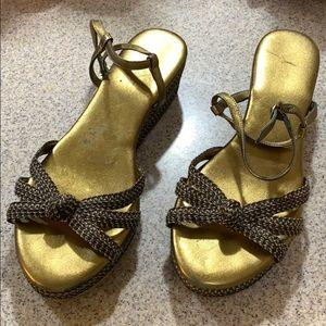 🍁EJ Braided Sandals Gold & Brown